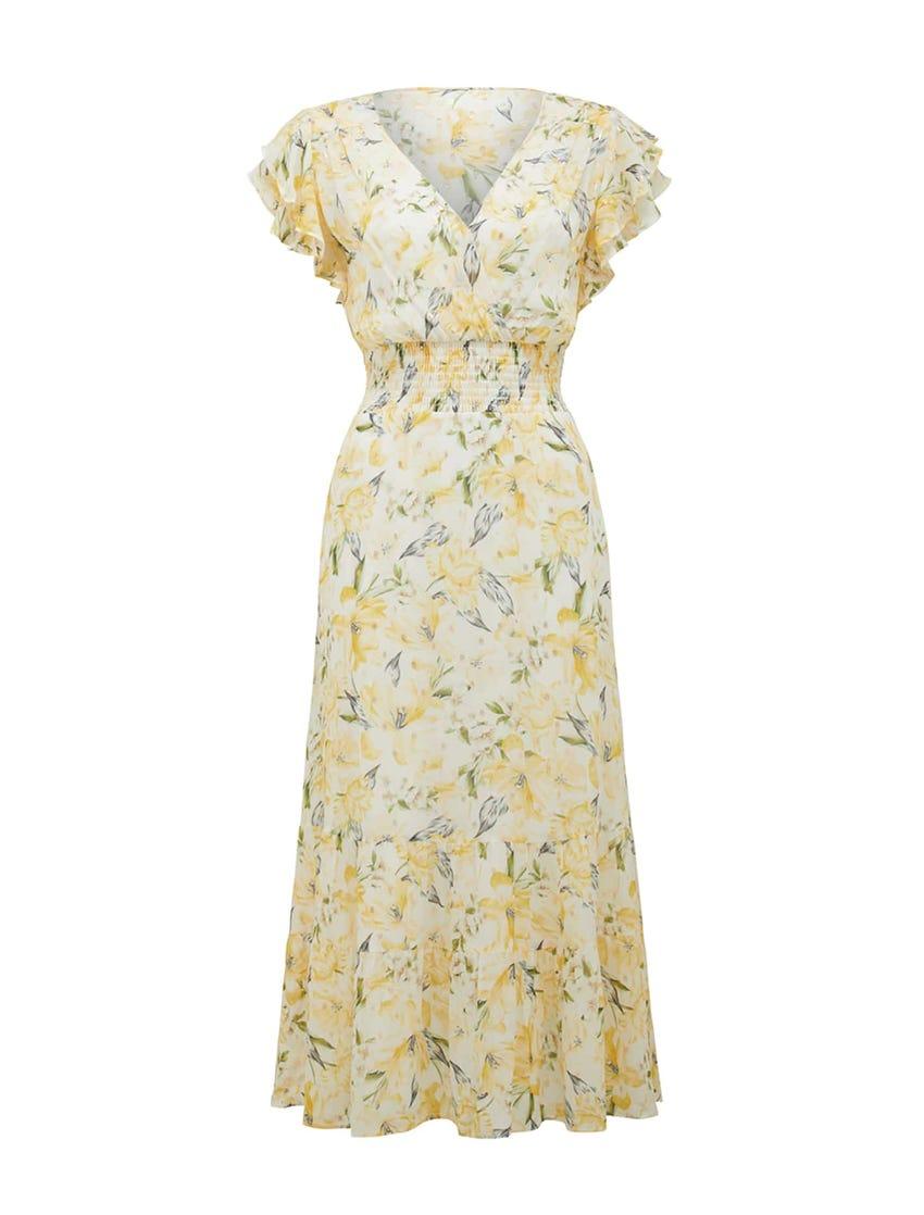 Jenny Metallic Tiered Midi Dress
