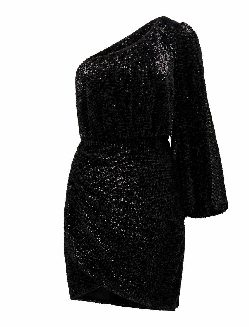 Penelope One-Sleeve Sequin Dress