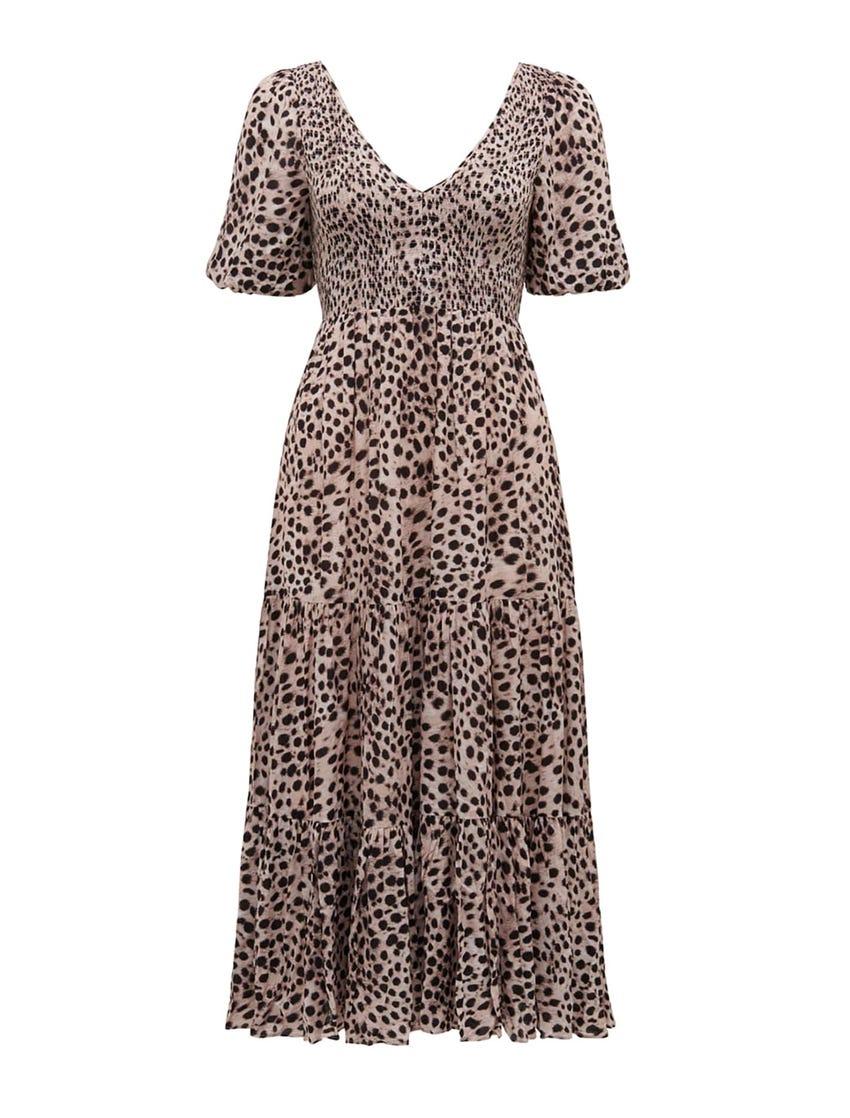 Amy Tiered Animal Midi Dress