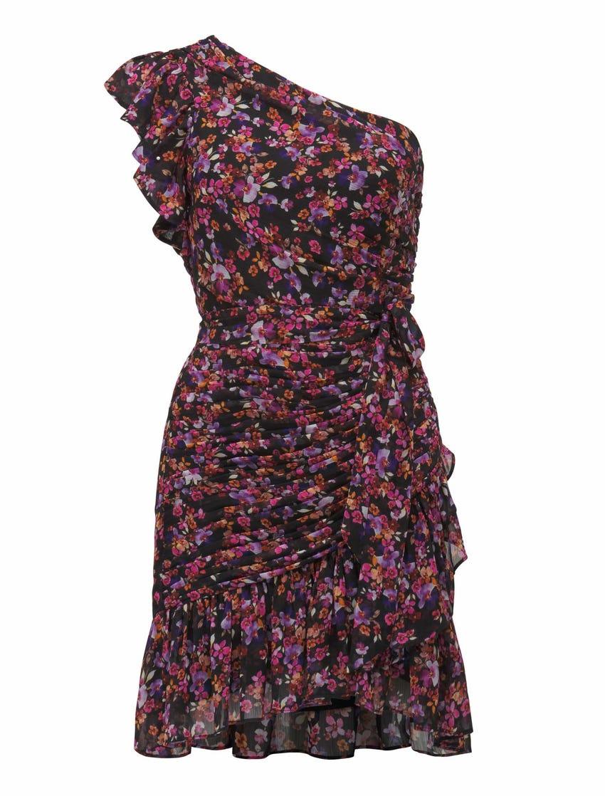 Anna One Shoulder Ruched Mini Dress