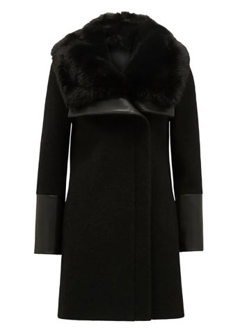 Ellery Fur Collar Biker Coat
