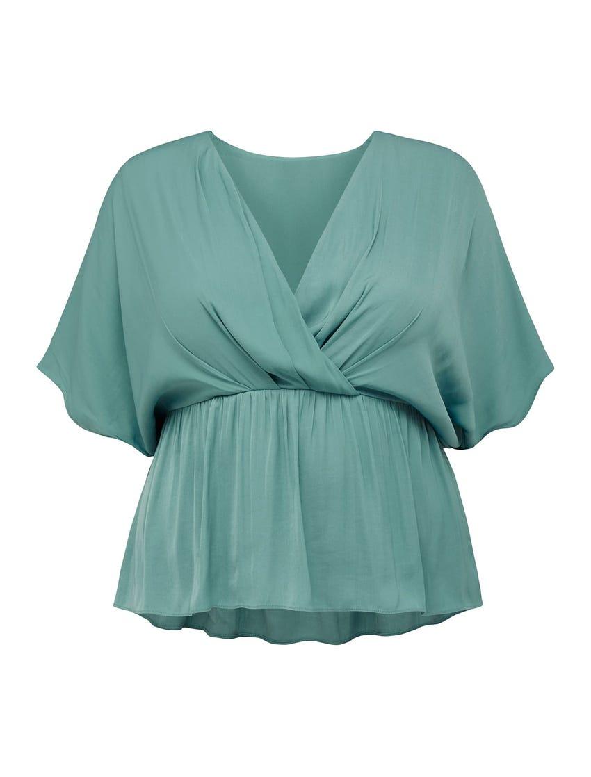 Fern Curve Kimono-Sleeve Wrap Blouse