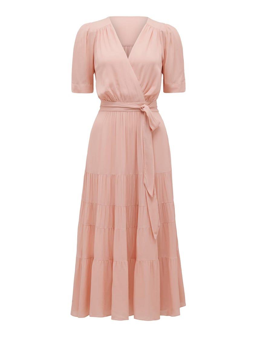 Jordan Puff-Sleeve Tiered Midi Dress
