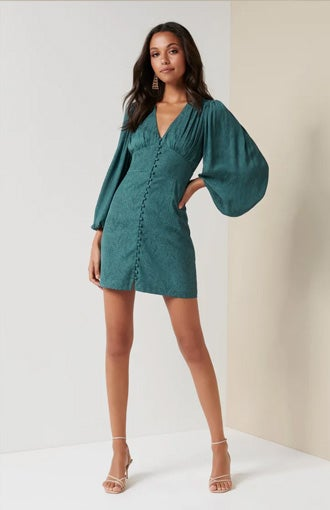 Rylie Button Detail Mini Dress