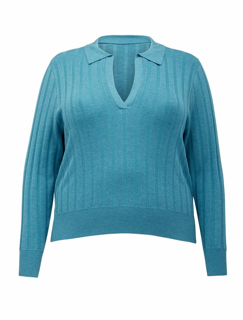 Isla Curve Cinched Polo Knit Jumper