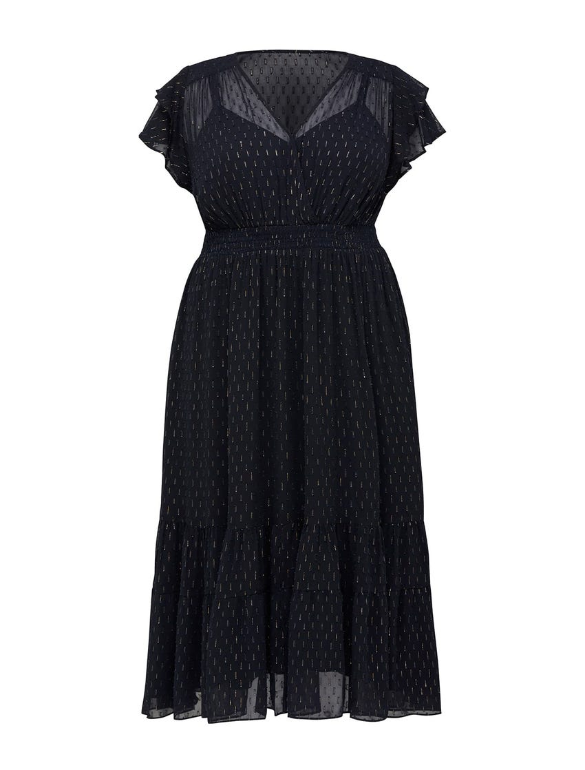 Piper Curve Wrap Metallic Flocked Tiered Maxi Dress