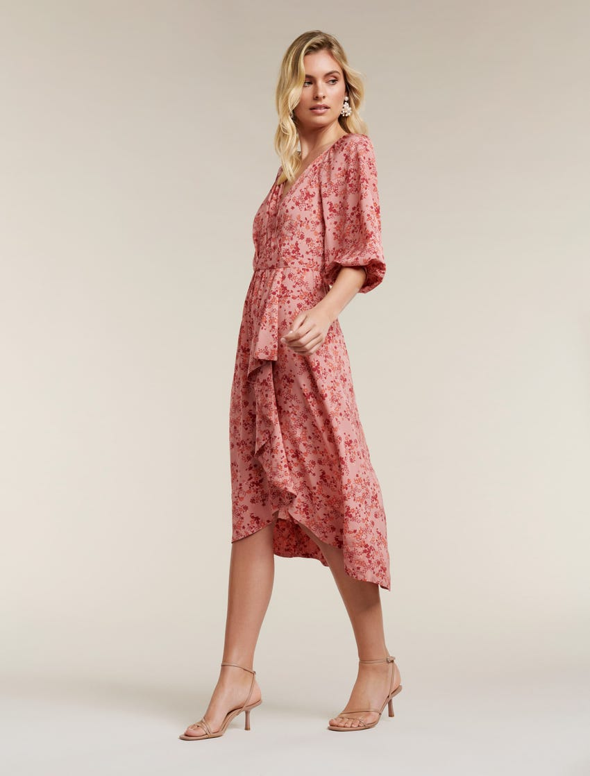 Maya Frill Wrap Midi Dress