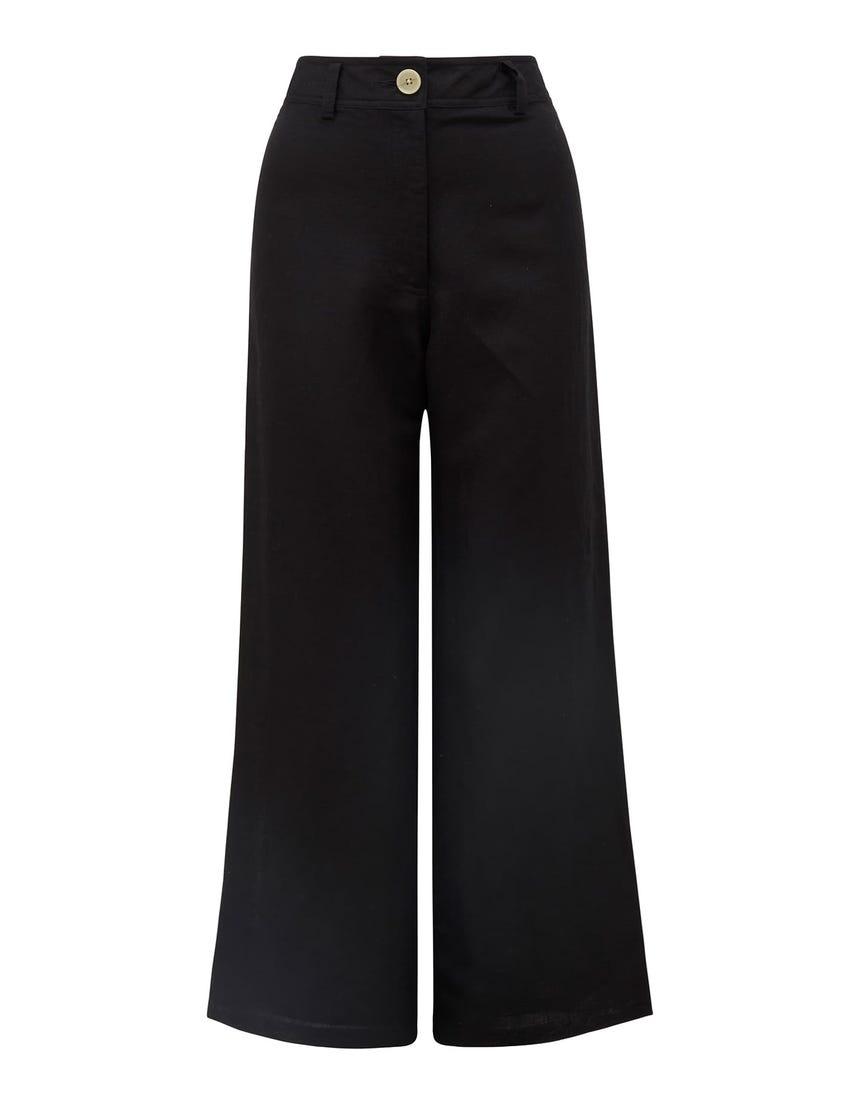 Indigo Wide-Leg Linen Pants Black