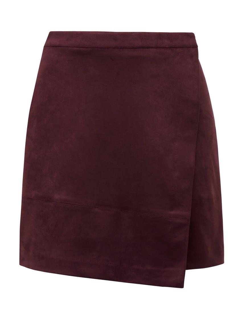 Tiffany Suedette Wrap Mini Skirt