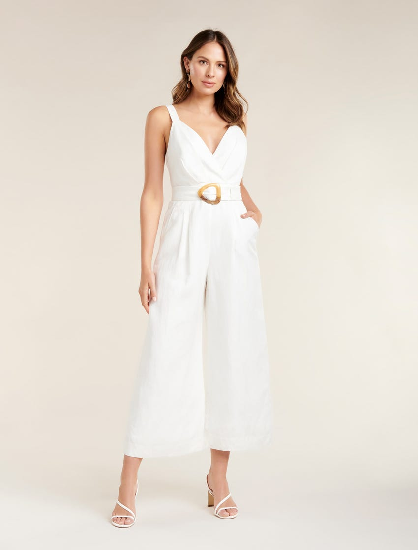 Kira Belted Linen Jumpsuit