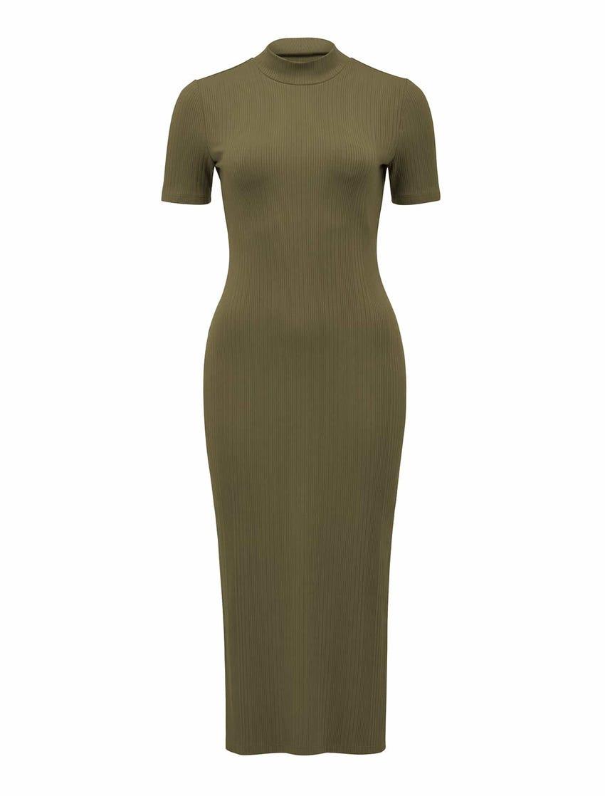 Aisha High-Neck Rib Dress