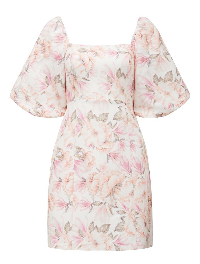 Candice Puff-Sleeve Mini Dress