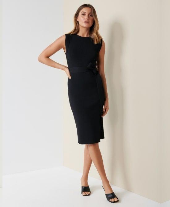 Forever New Black Midi Work Dress