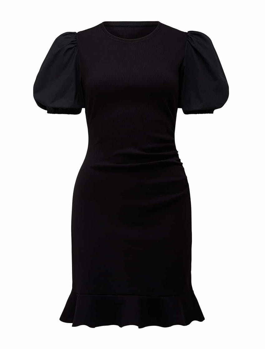 Cora Puff-Sleeve Rib Mini Dress