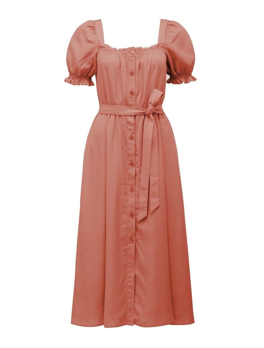 Corinna Petite Puff-Sleeve Midi Dress