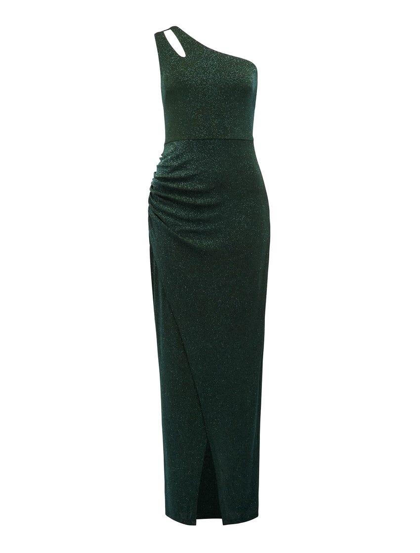Delaney One-Shoulder Glitter Maxi Gown