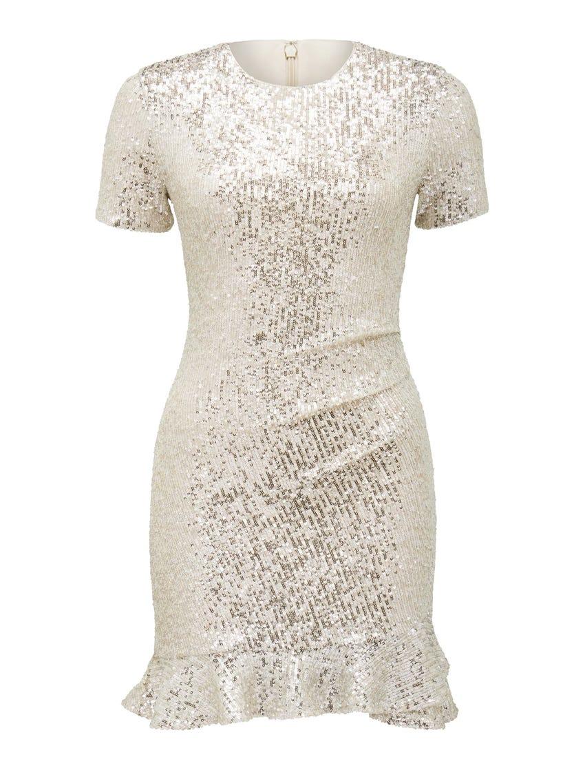 Delora Draped Sequin Mini Dress