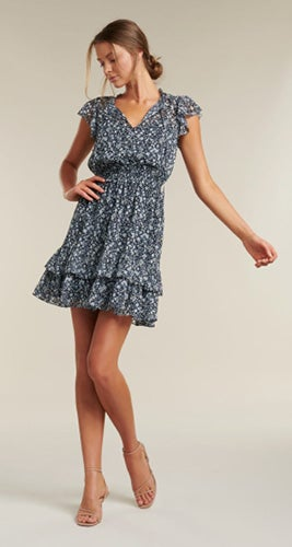 Sandy Flutter Sleeve Skater Dress