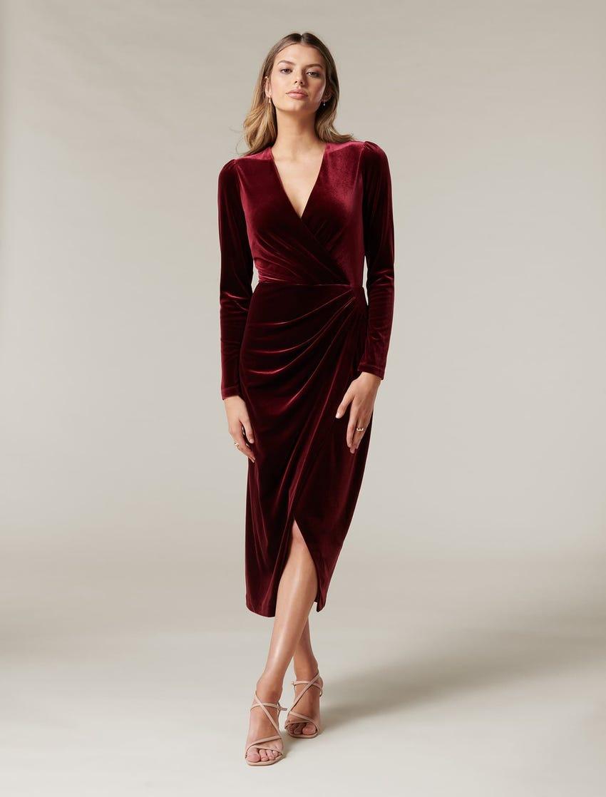 Evaliah Velvet Wrap Midi Dress