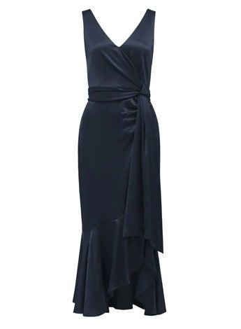 Gracelyn Satin Wrap Midi Dress