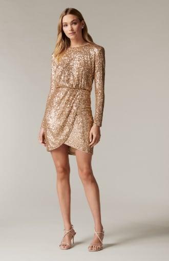 Juniper Sequin Wrap Mini Dress