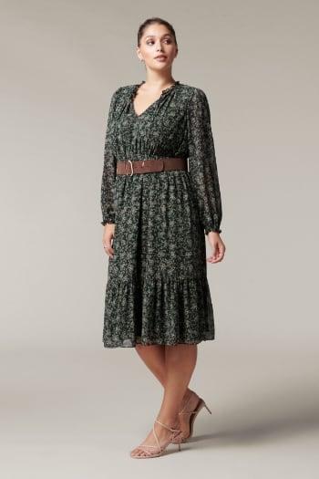 Yolanda Curve Belted Midi Dress