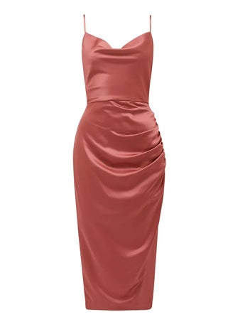 Laura Satin Cowl-Neck Ruched Midi Dress