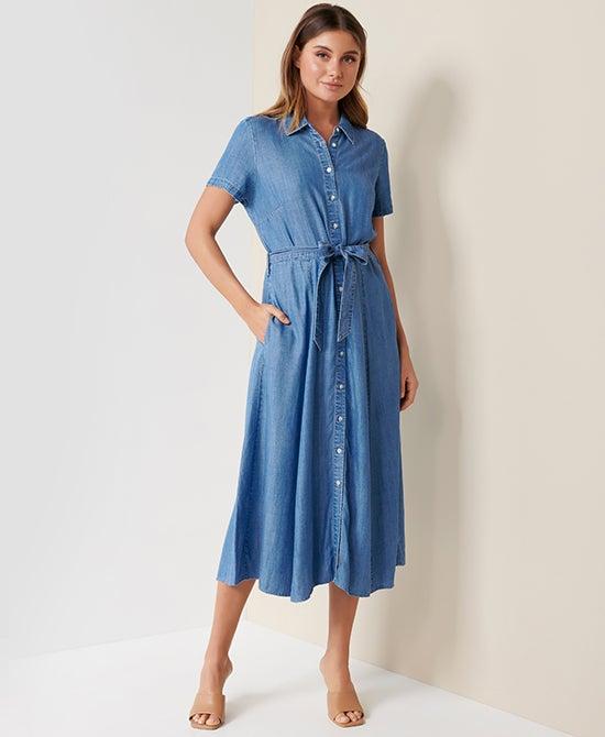Women's Denim Midi Dress