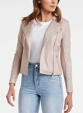 Nina Collarless Biker Jacket