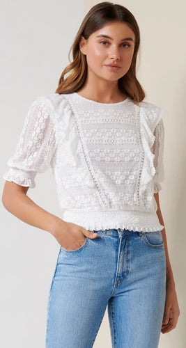 Olivia Lace Trim Ruffle Crop Top