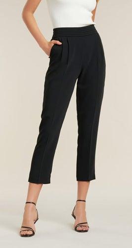 Zoe Pleated Elastic-Back Pants