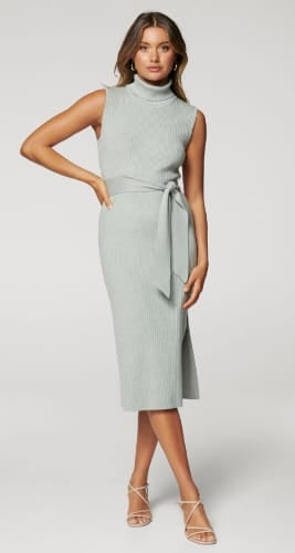 Emilia Roll-Neck Midi Knit Dress