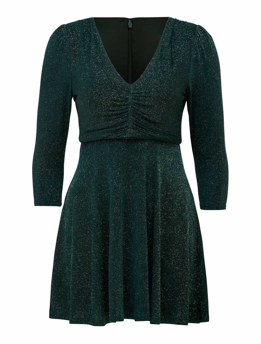 Ramona Petite Glitter Ruched Mini Dress