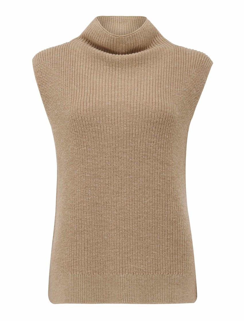 Regan Sleeveless Roll-Neck Knit Top