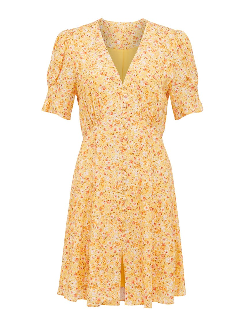 Saffron Printed Mini Sun Dress