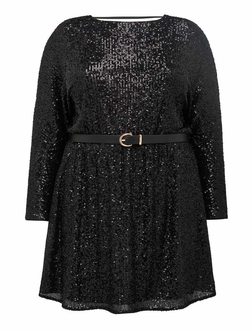 Sia Curve Sequin Batwing Mini Dress