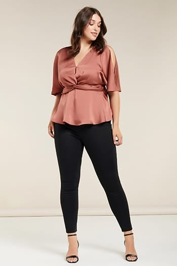 Presley Curve Knot-Front Blouse
