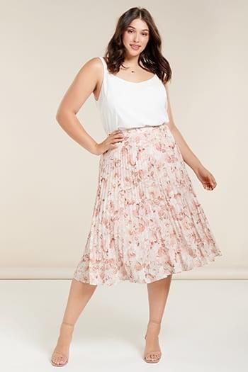 Lucy Curve Elastic-Waist Pleat Skirt