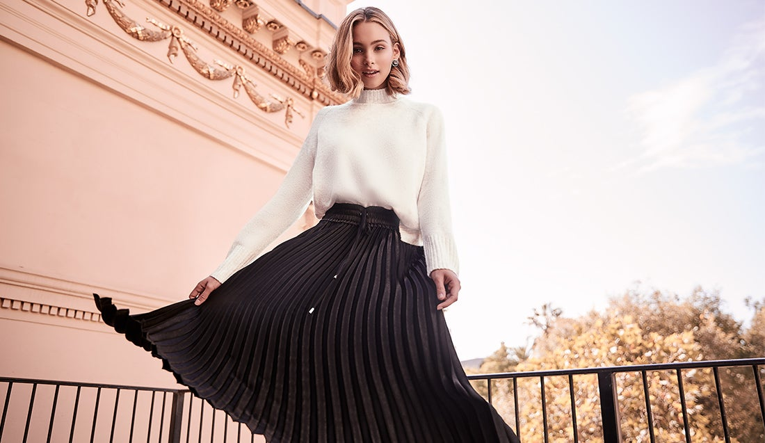 Winter Shoot - knitwear and pleated skirt