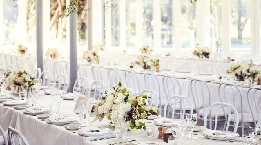 Wedding table with flowers.