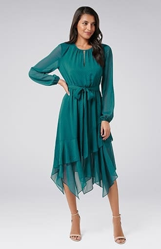 Tia Printed Asymmetric Maxi Dress