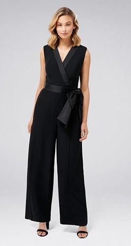 Viola Sleeveless Tuxedo Bow Jumpsuit