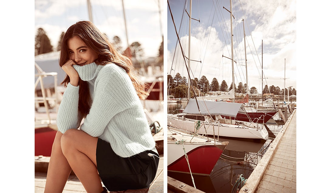 Knit and mini skirt